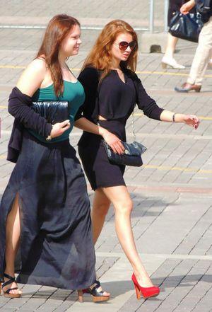 Sexy ladies walking, long legs photos